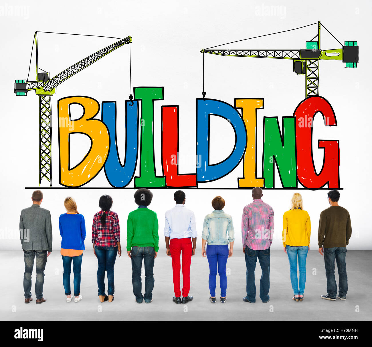Building Business Strategy Stability Success Concept Stock