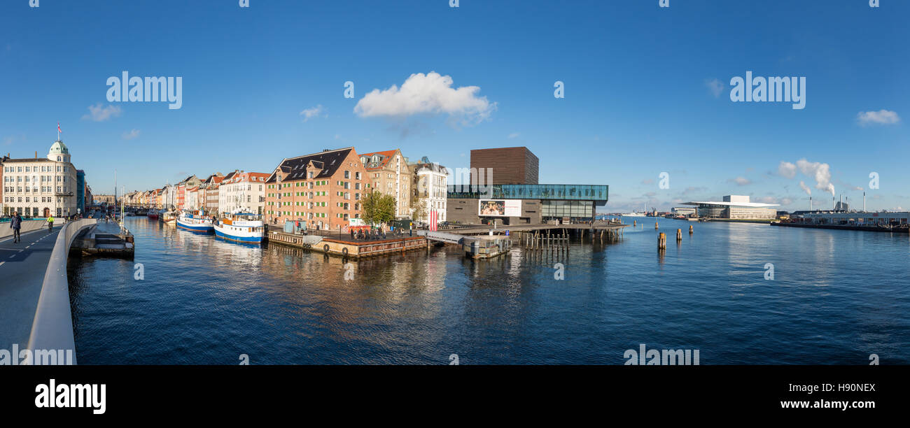 Panorama of Copenhagen Inner Harbour with Nyhavn and the Opera House, Copenhagen, Denmark - Stock Image