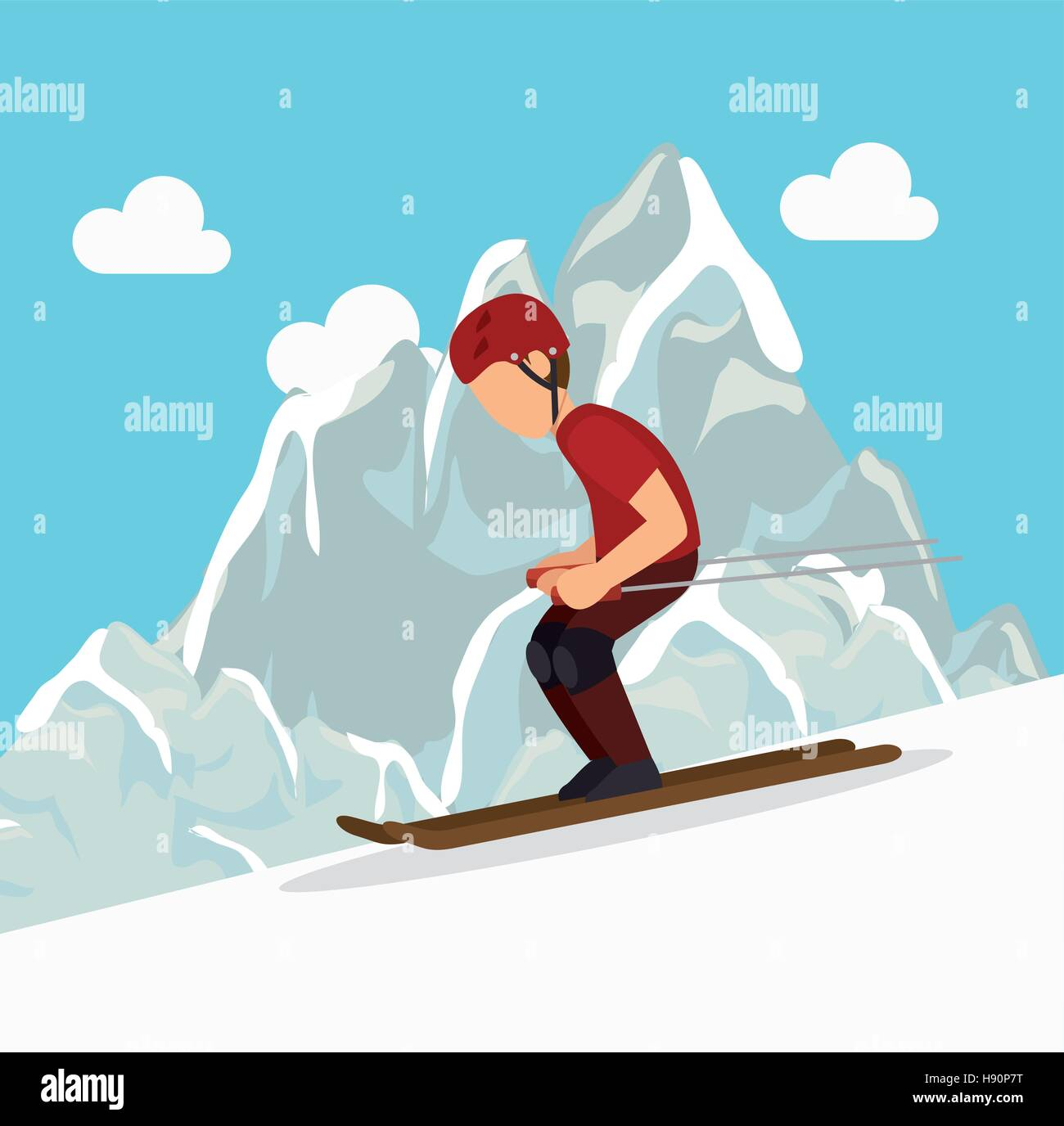 skiing man mountain snow extreme sports vector illustration eps 10 - Stock Vector