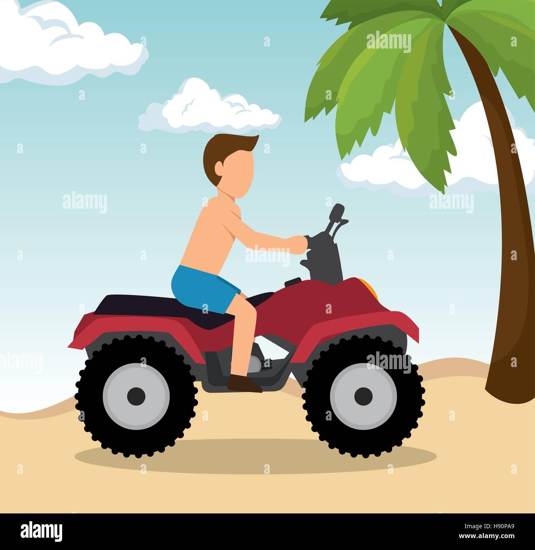 man drive atv on beach vector illustration eps 10 - Stock Vector