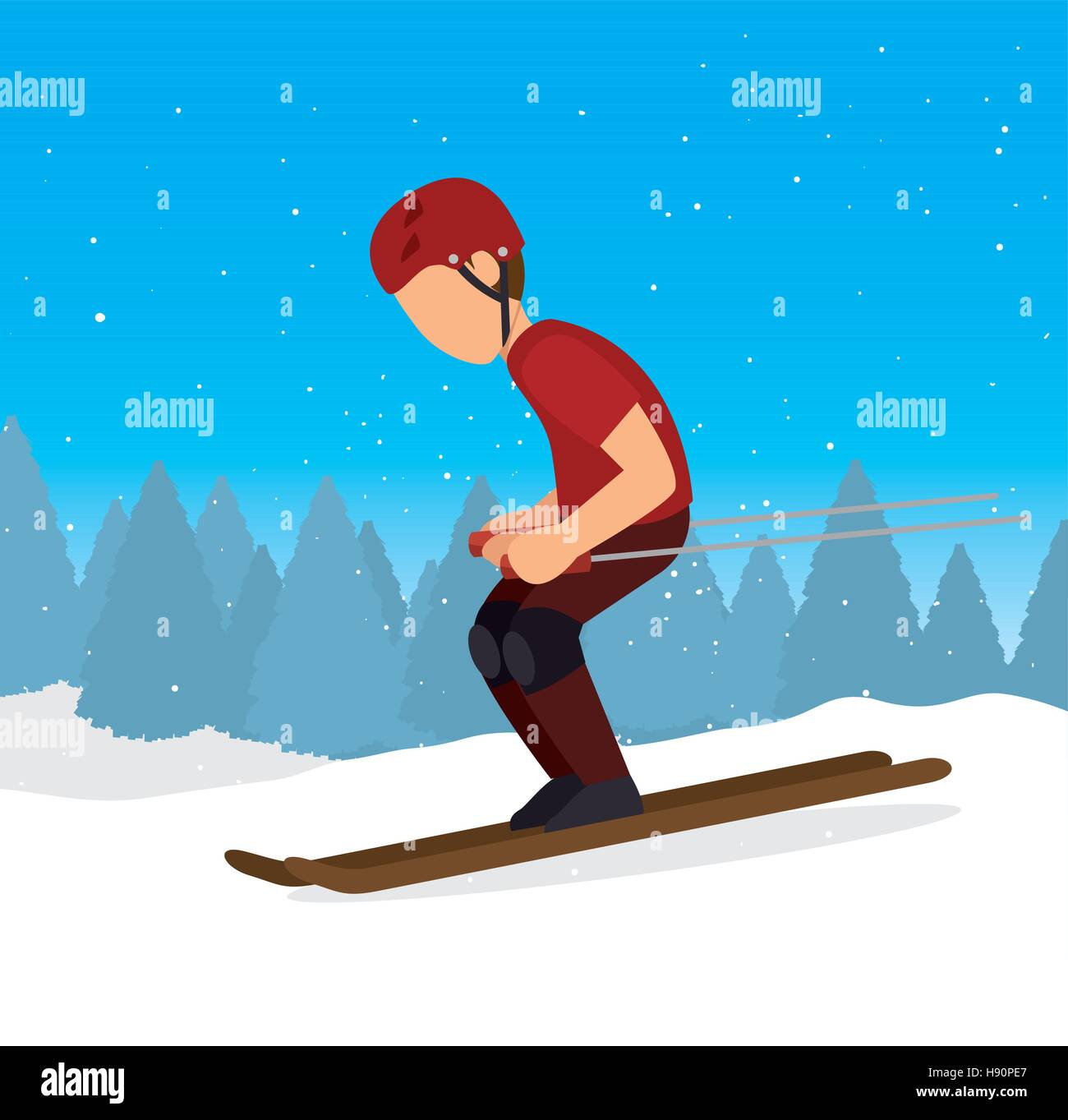 skiing downhill man extreme sports vector illustration eps 10 - Stock Vector