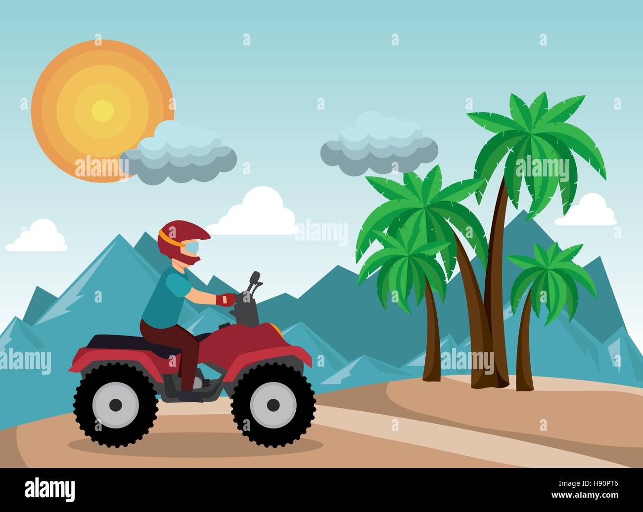 atv driver man beach mountain background vector illustration eps 10 - Stock Vector
