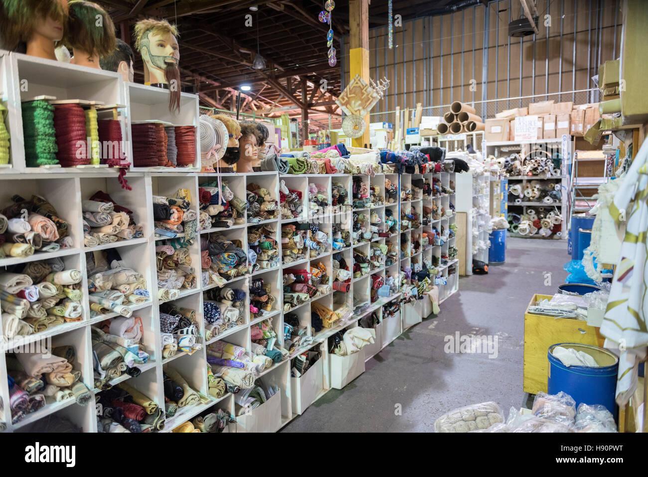Interior view of Scrap, a creative re-cycling public warehouse for useful materials to reuse in San Francisco, California, - Stock Image