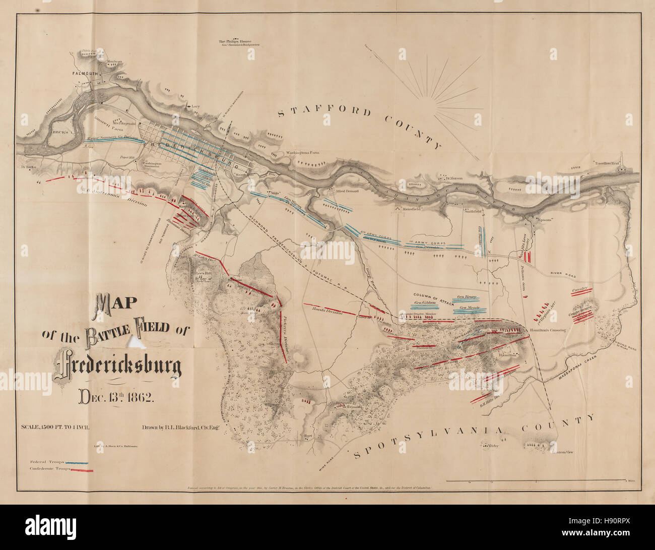 Fredericksburg Virginia Map.Map Of The Battle Field Of Fredericksburg Virginia Stock Photo