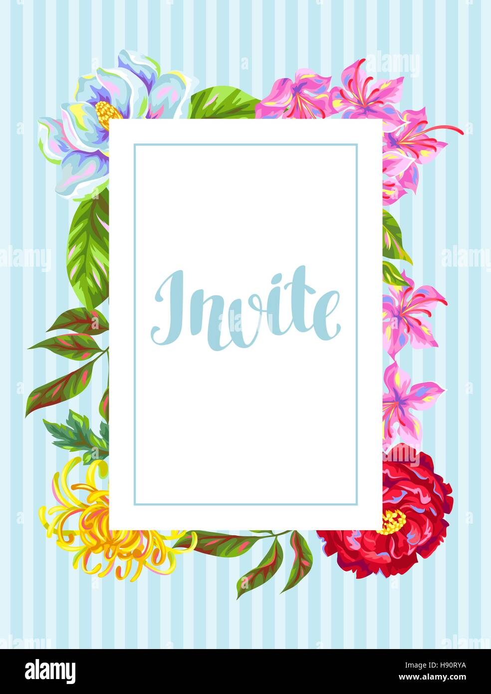 Invitation card with China flowers. Bright buds of magnolia, peony, rhododendron and chrysanthemum - Stock Vector