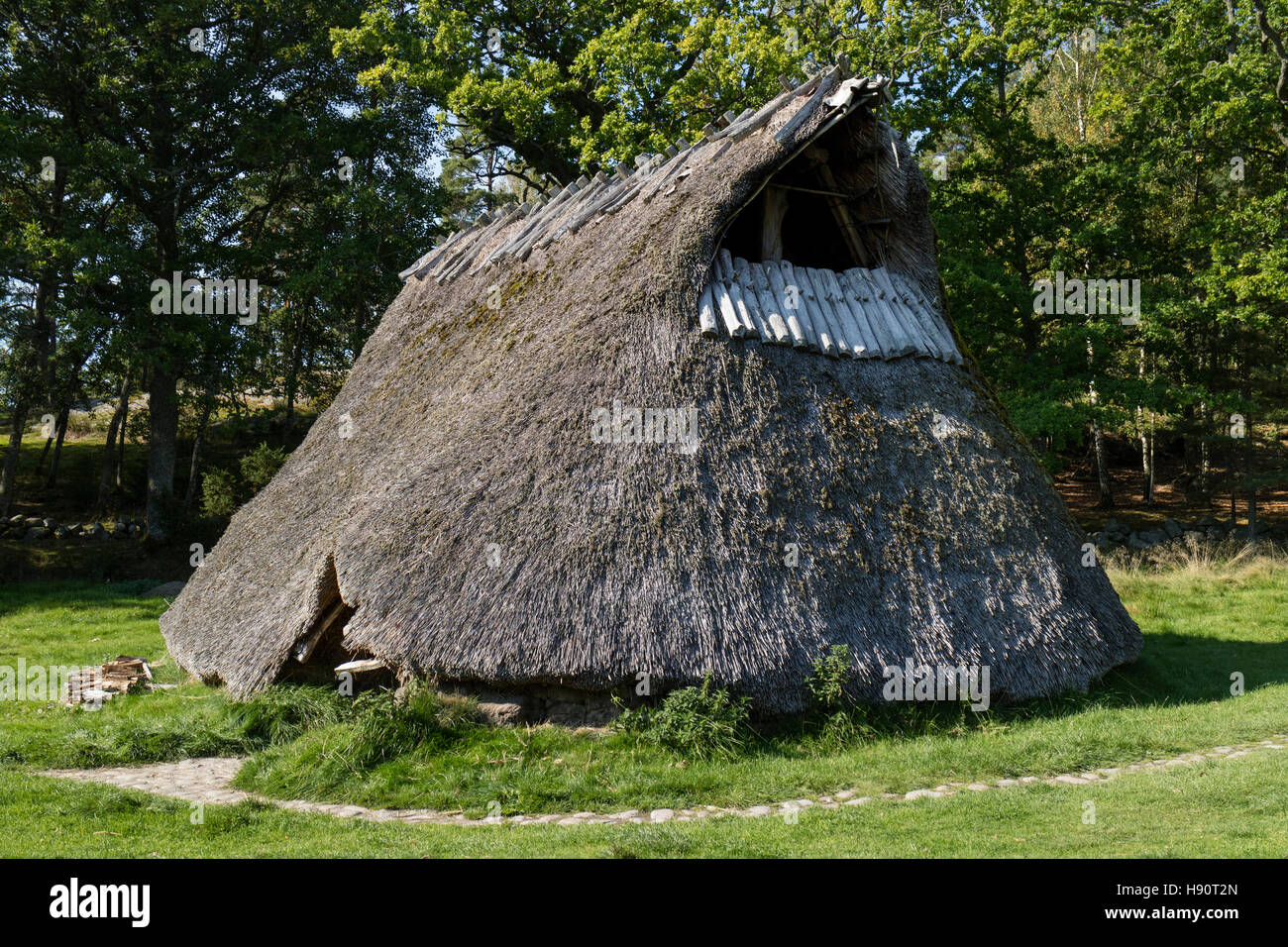 Replica of an old farmhouse from the bronze century in the Tanum world heritage center, Sweden - Stock Image