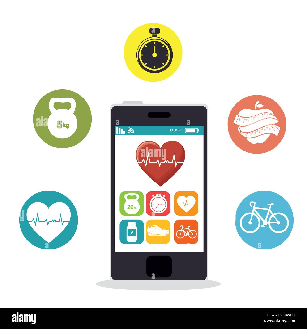 smartphone heart rate app fitness health vector illustration eps 10 - Stock Image