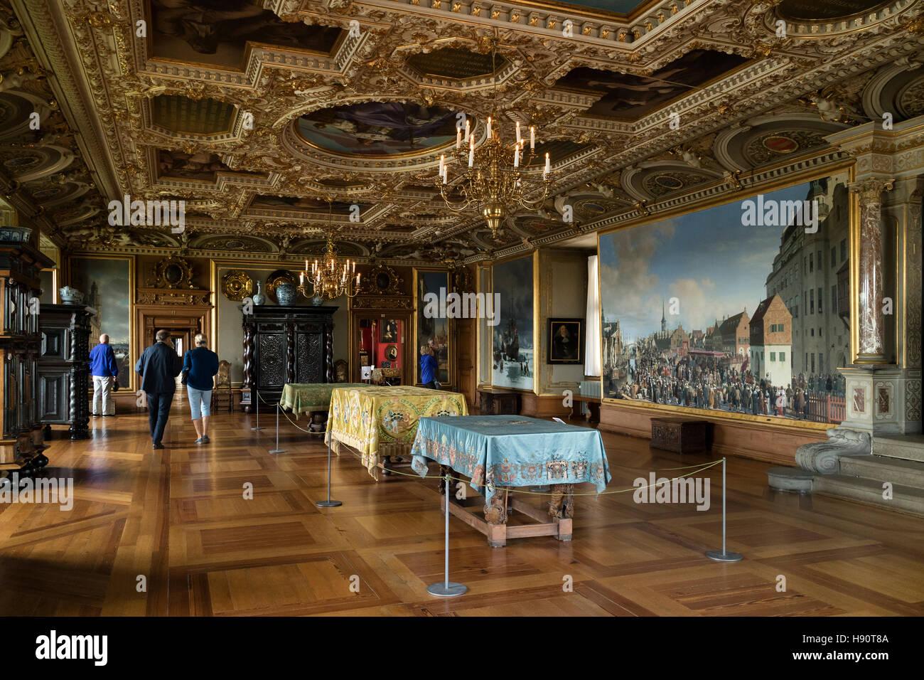 Decorated ceiling in Frederiksborg Castle in Hillerod, Denmark - Stock Image