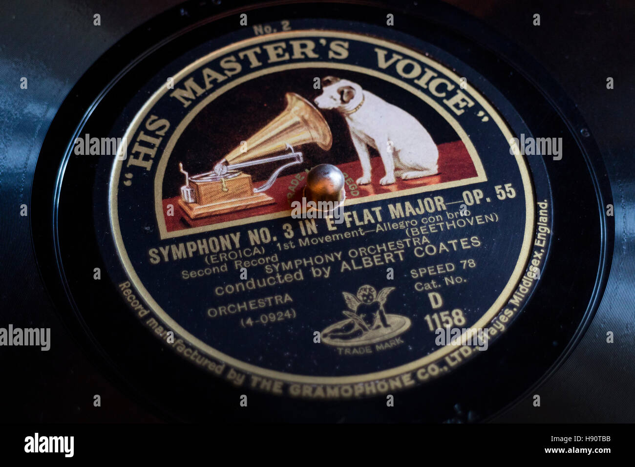Classic gramophone record with the brand His masters Voice - Stock Image
