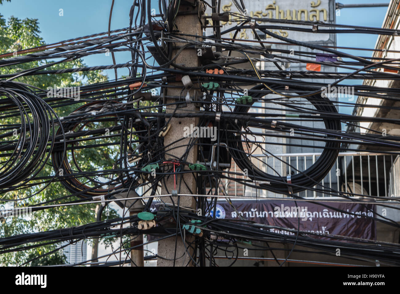 City Electrical Wiring Product Diagrams Diagram Tangled And Messy Cables In Bangkok Thailand Stock Rh Alamy Com Of Calgary Homeowner Guide Electric Wilmington