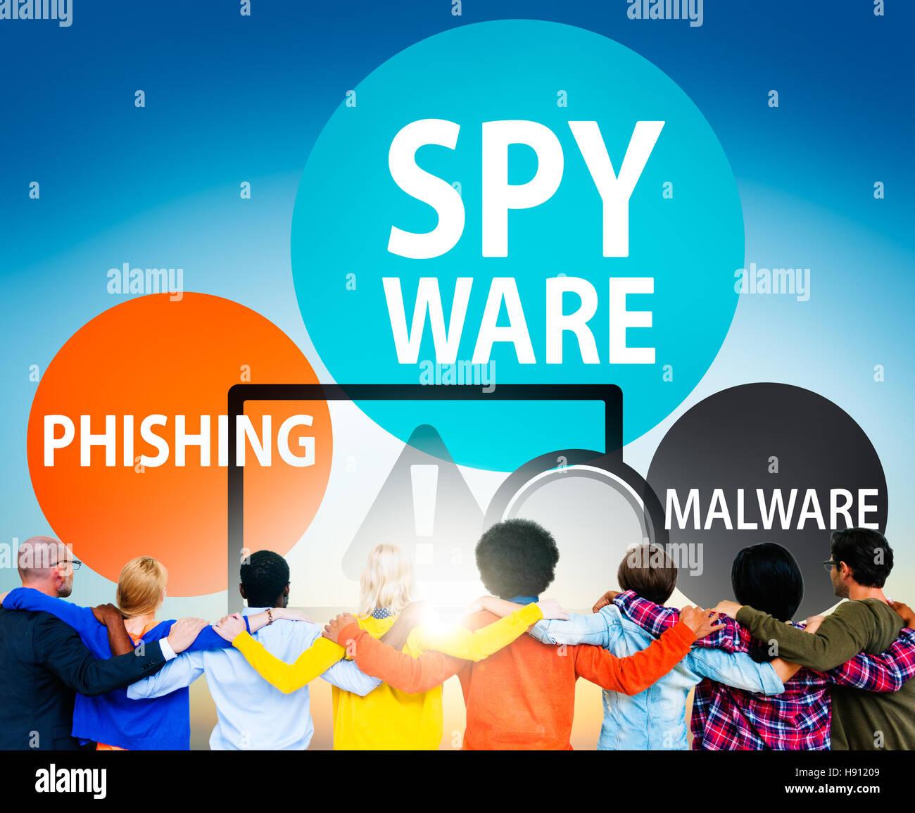 Spyware Hacking Phishing Malware Virus Concept - Stock Image