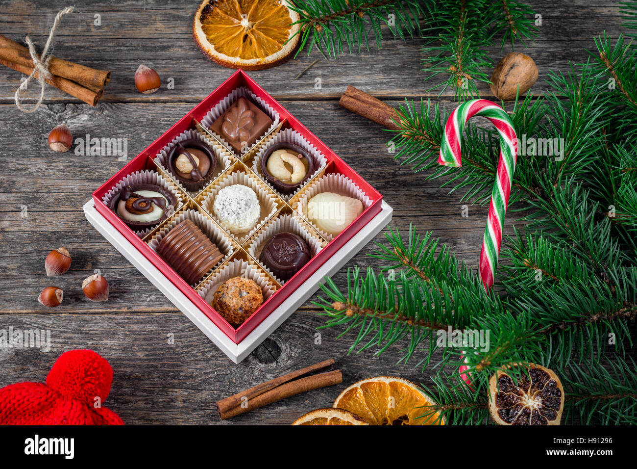 Christmas Gifts Christmas Decoration Box Of Chocolate Sweets Candy Stock Photo Alamy