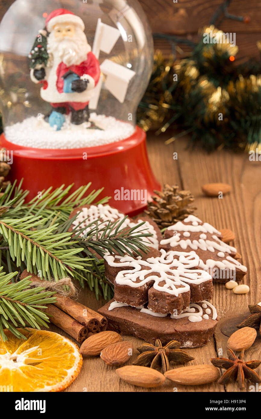 Christmas Gingerbread Cookies Against Background Glass Sphere With