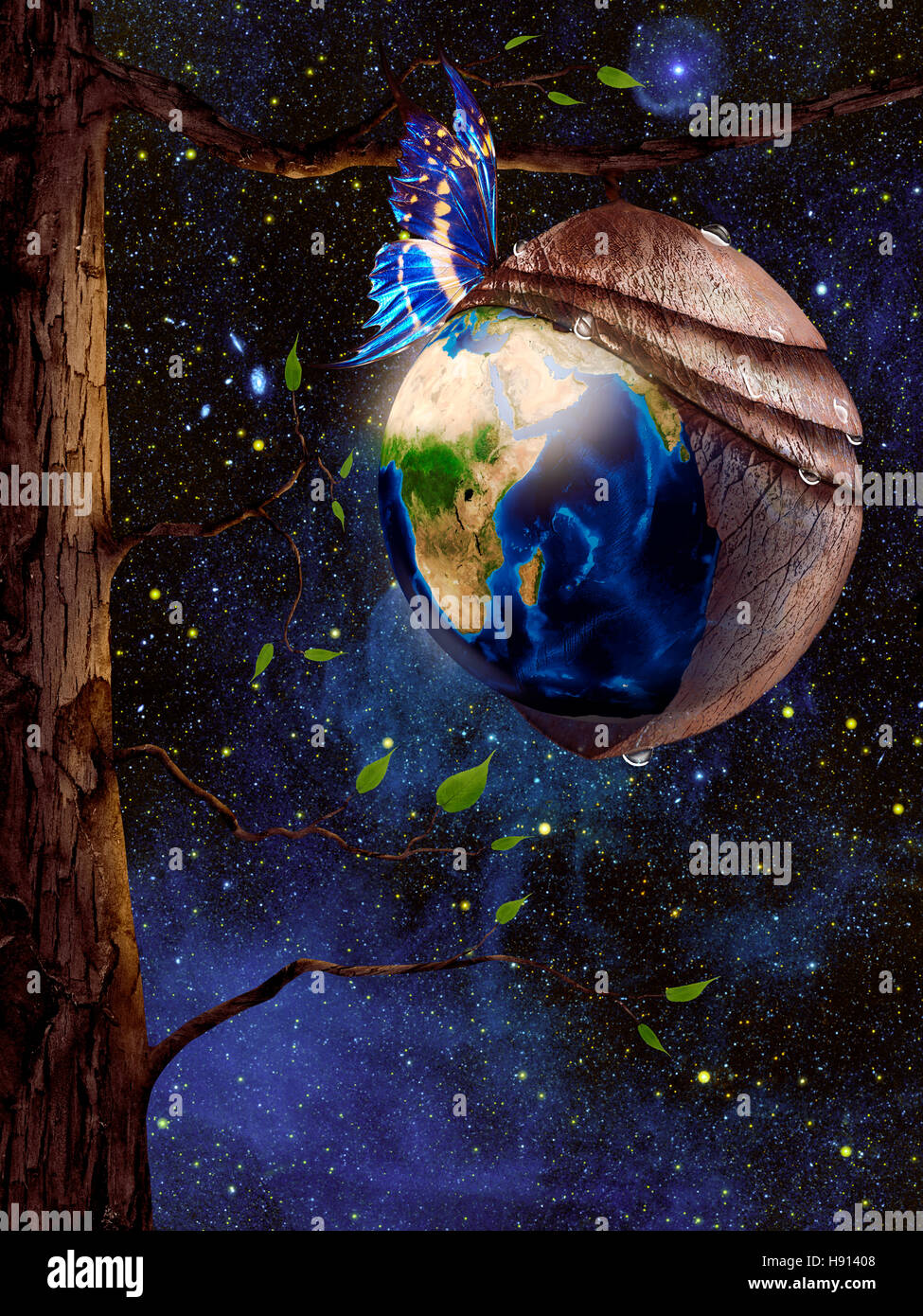 New planet Earth reborn from butterfly cocoon hanging from a tree in cosmic space, conceptual spiritual zen photo - Stock Image
