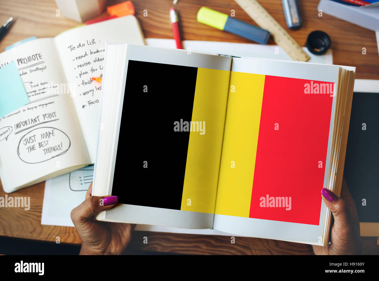 Belgium Flag Country Nationality Liberty Concept - Stock Image