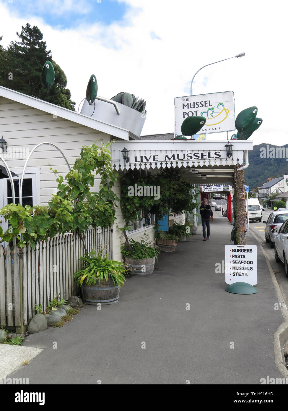 Mussel shops in Havelock, South Island, New Zealand - Stock Image