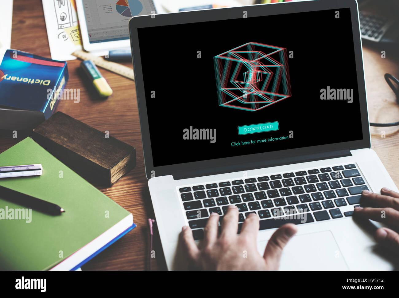 3D Three Dimensional Futuristic Display Modern Concept Stock Photo