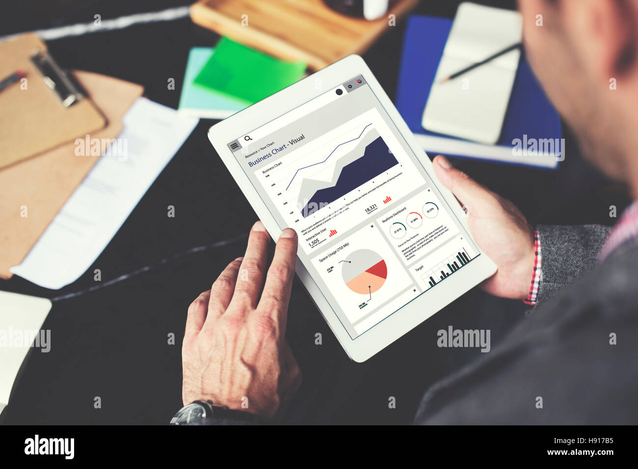 Business Chart Report Statistic Palnning Analysis Concept - Stock Image