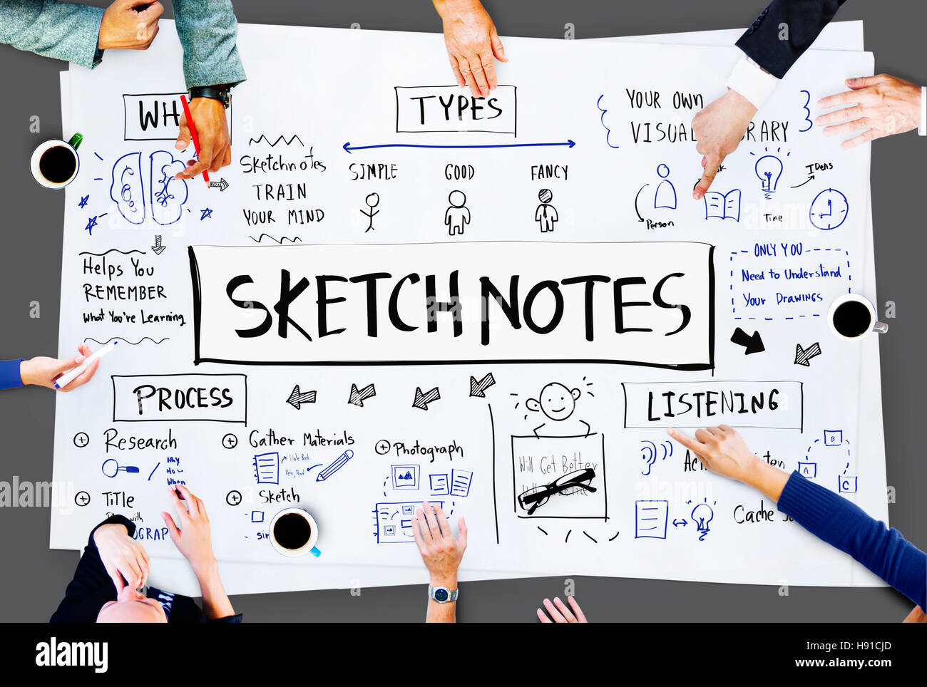 Sketch Notes Creative Drawing Design Graphic Concept Stock Photo