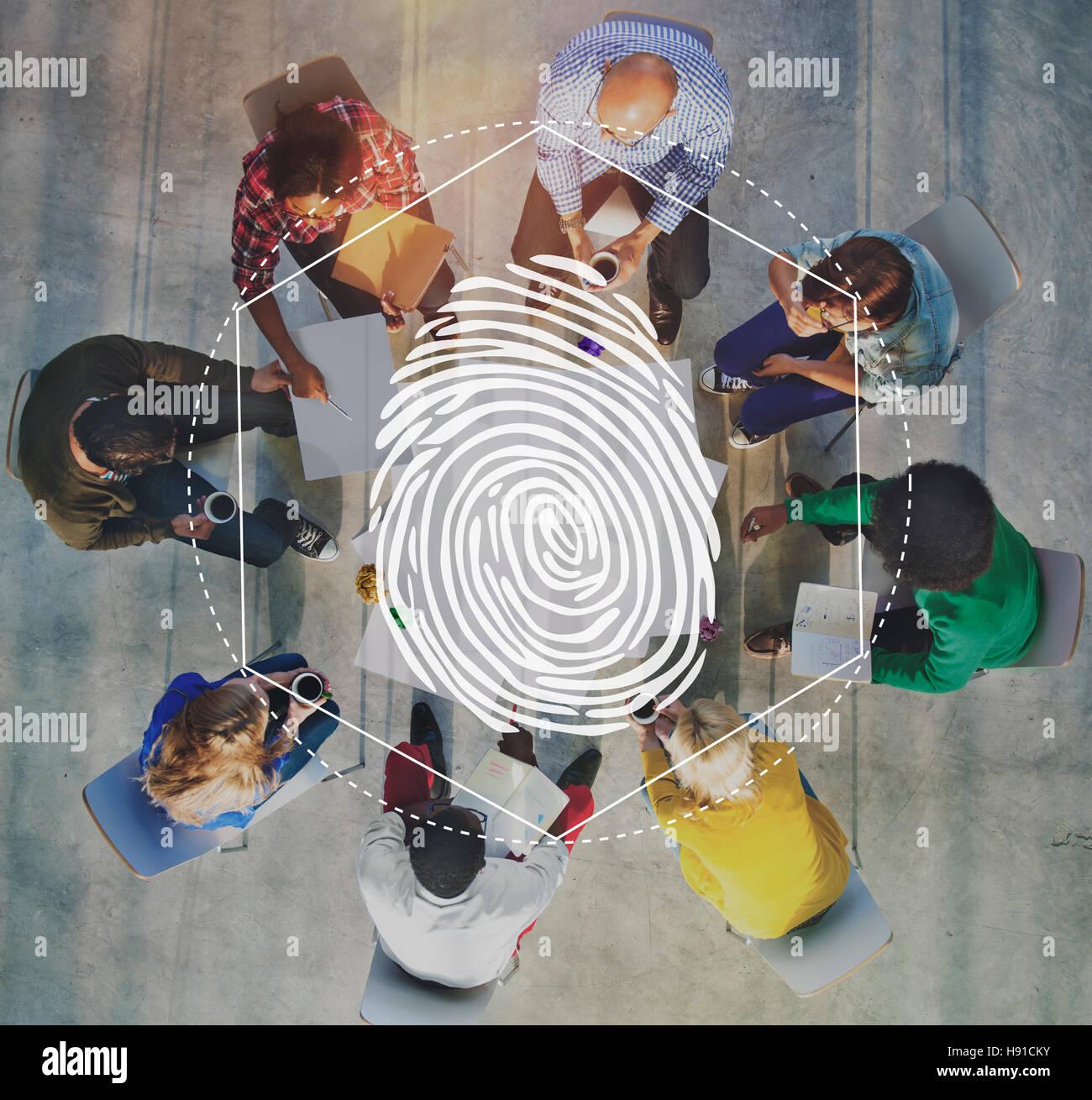 Fingerprint Security Distinction Access Graphic Concept - Stock Image