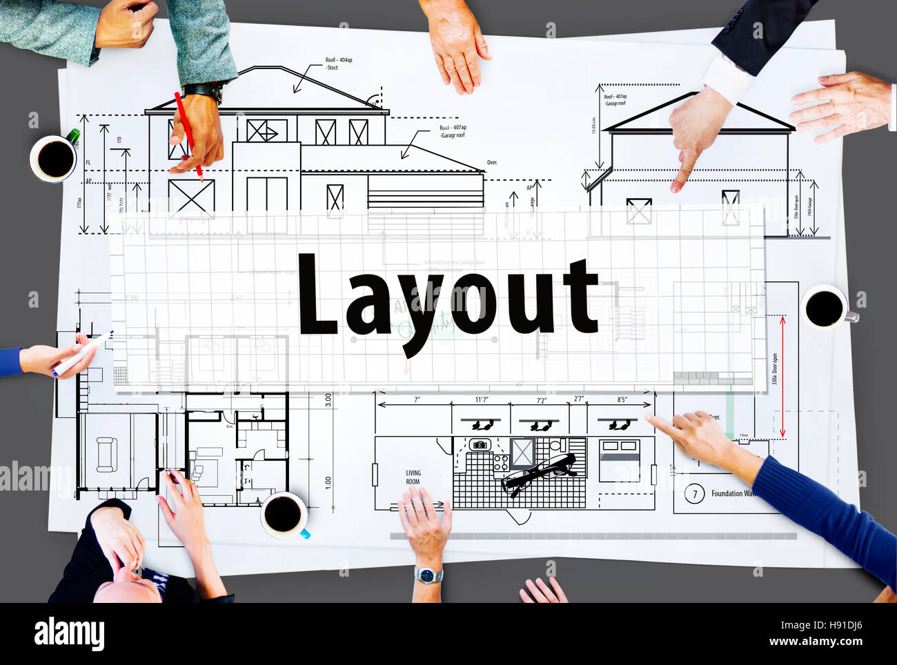 Layout Architect Construct Design Drawing Concept - Stock Image