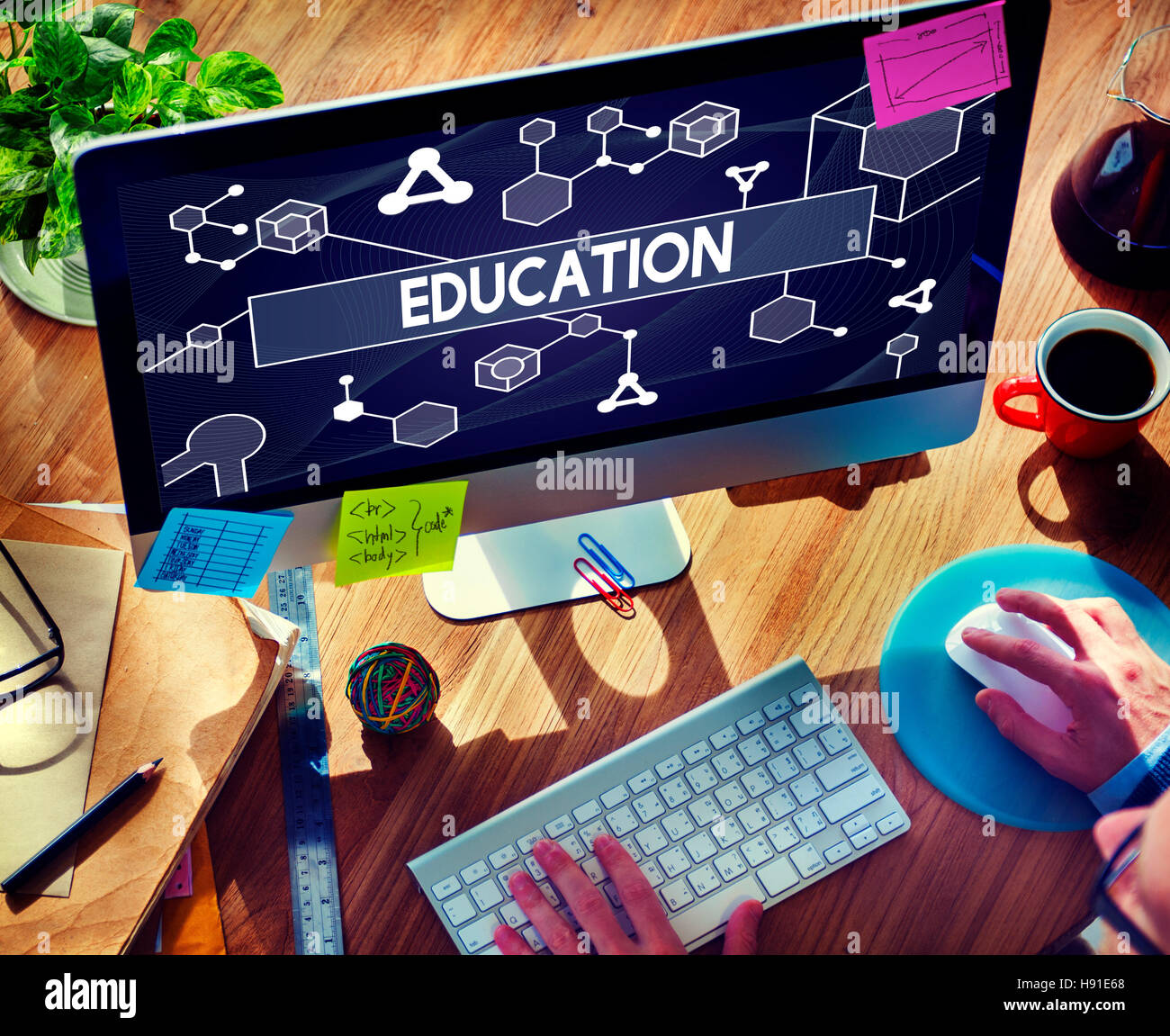 Education Particles Geometry Shapes Graphics Concept - Stock Image