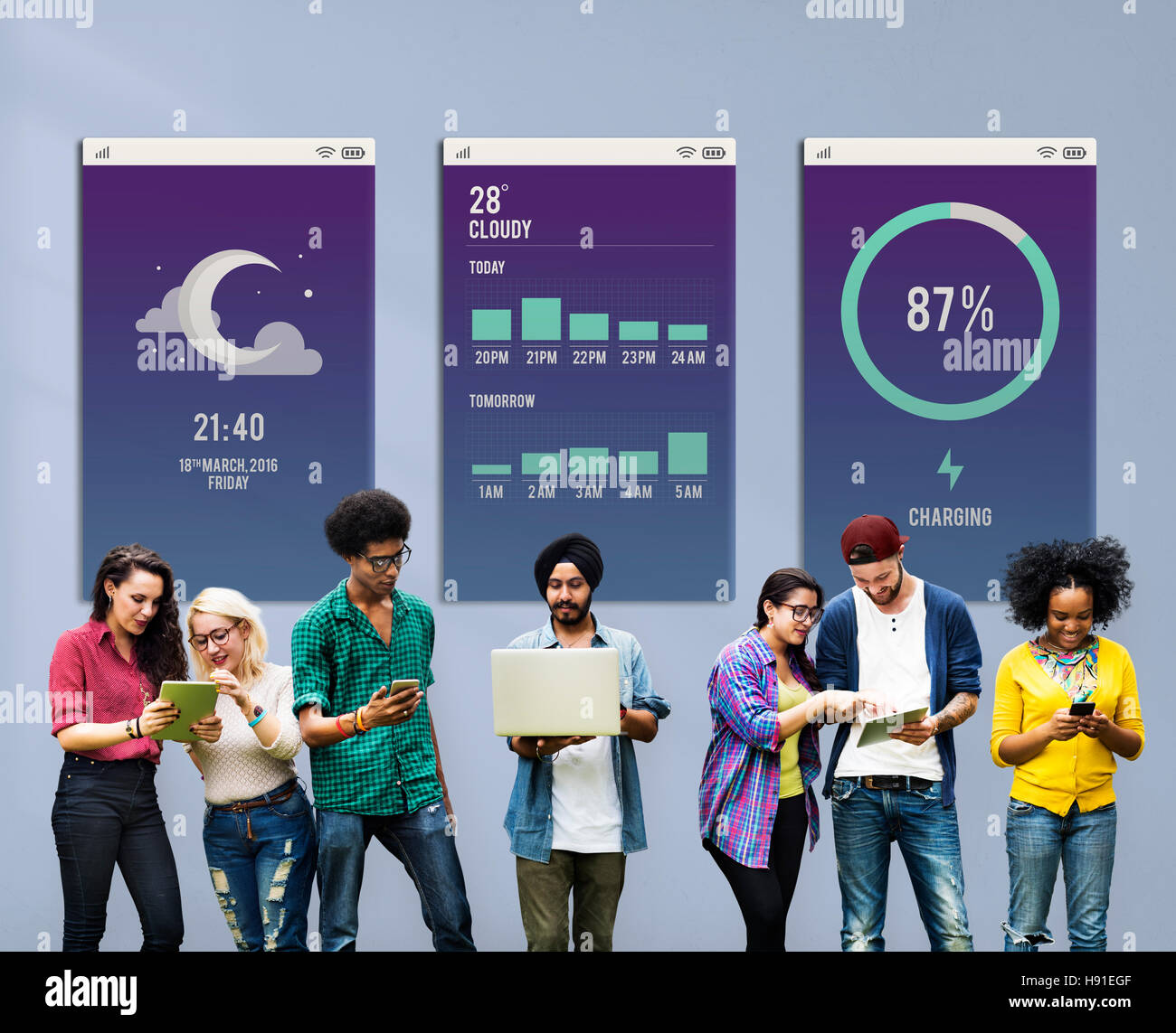 Weather Report Application Digital Display Concept - Stock Image