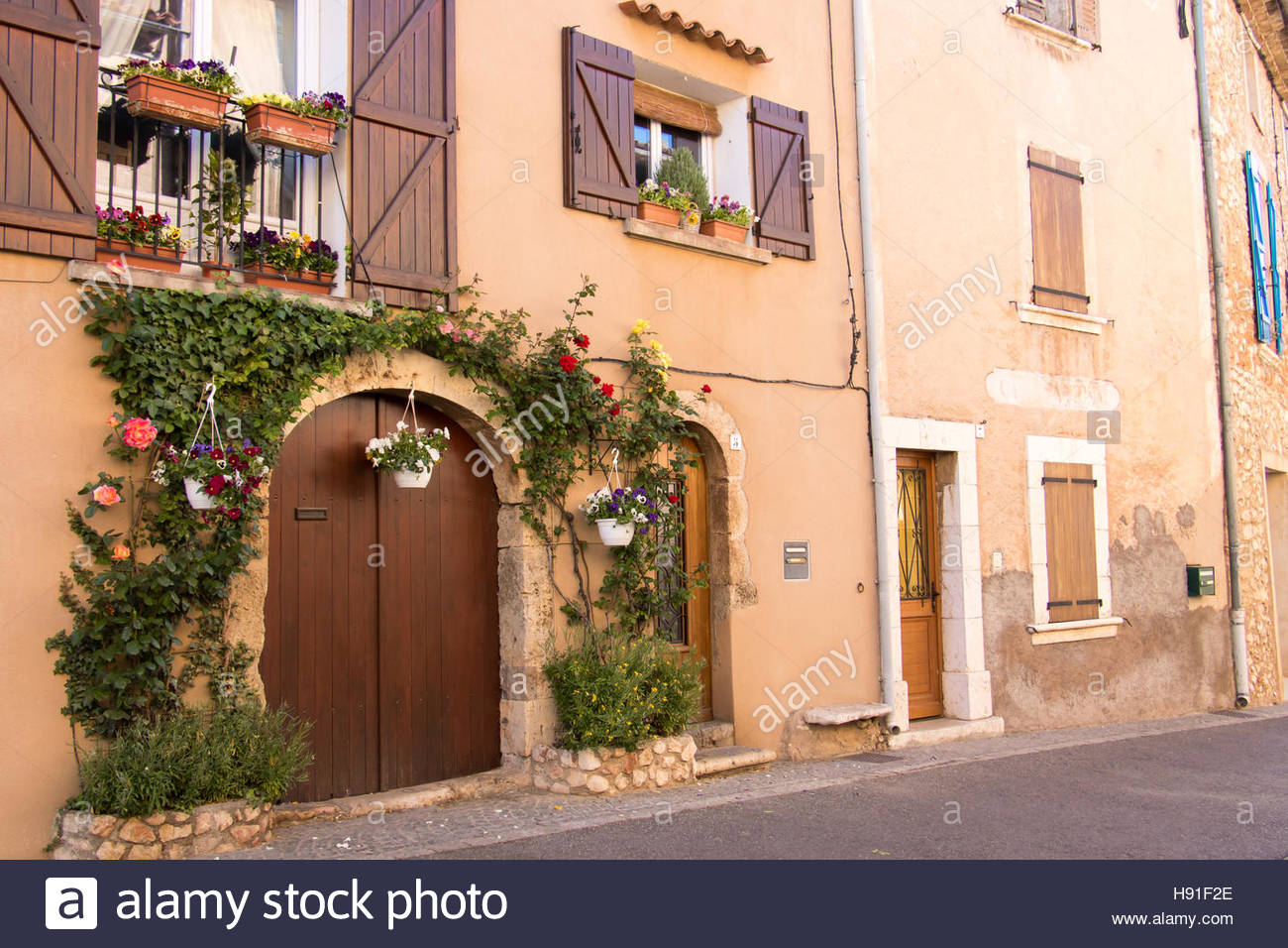 Medieval Village of Régusse, Var Provence-Alpes-Côte d'Azur, France, old architecture, narrow streets, - Stock Image