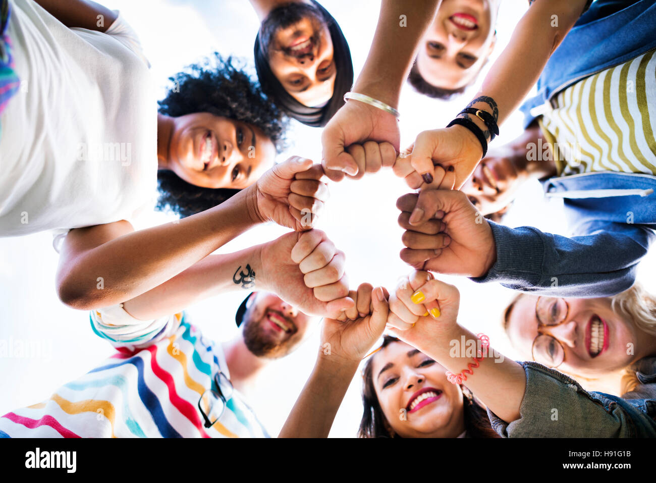 Friends Fist Together Circle Teamwork Concept Stock Photo