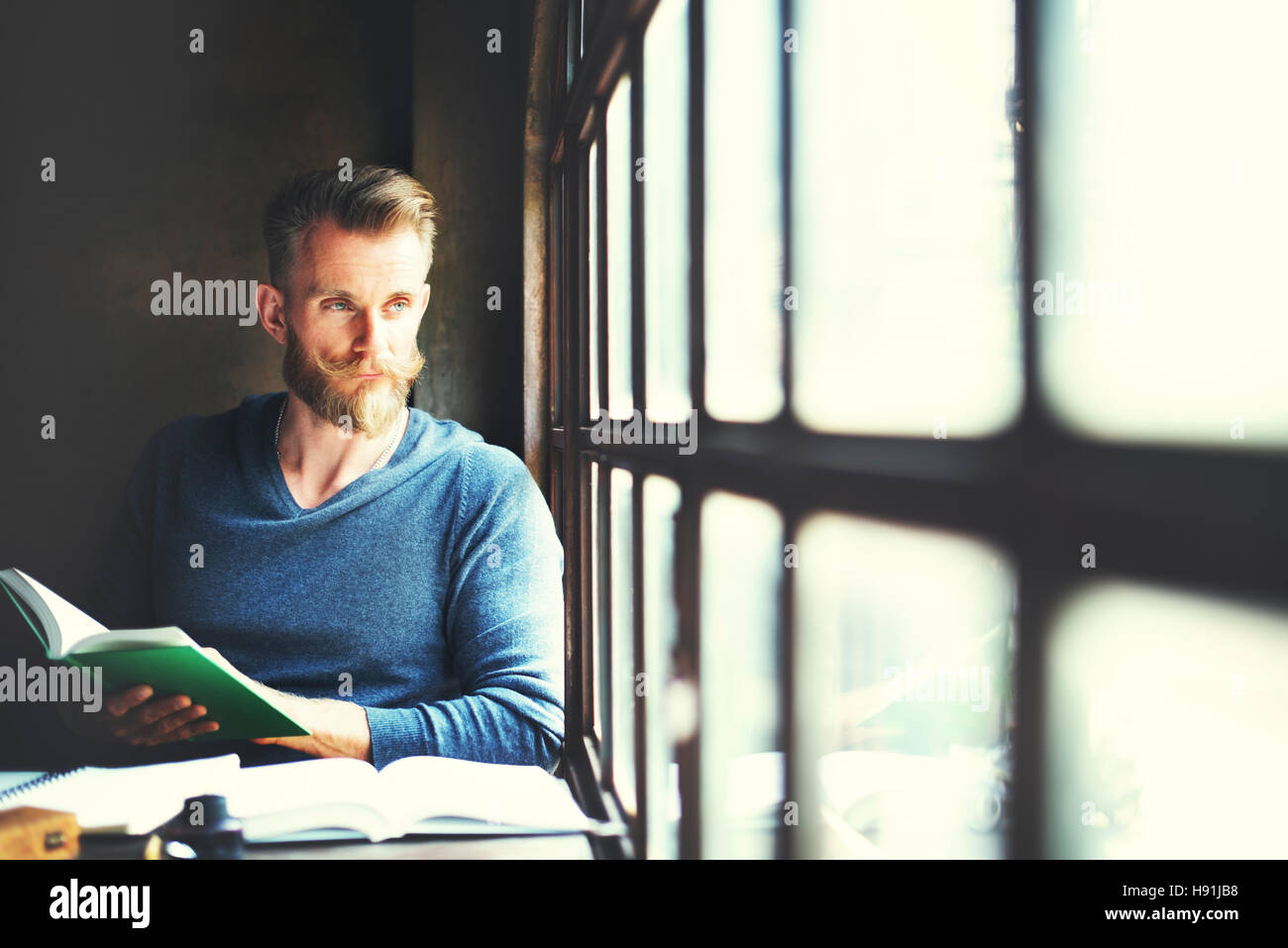 Mna Reading Book Lifestyle Relaxation Concept - Stock Image