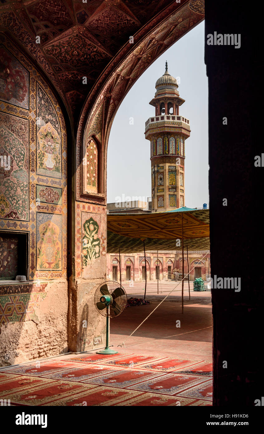The Wazir Khan Mosque  is a Mughal era mosque in the city of Lahore, capital of the Pakistani province of Punjab. - Stock Image