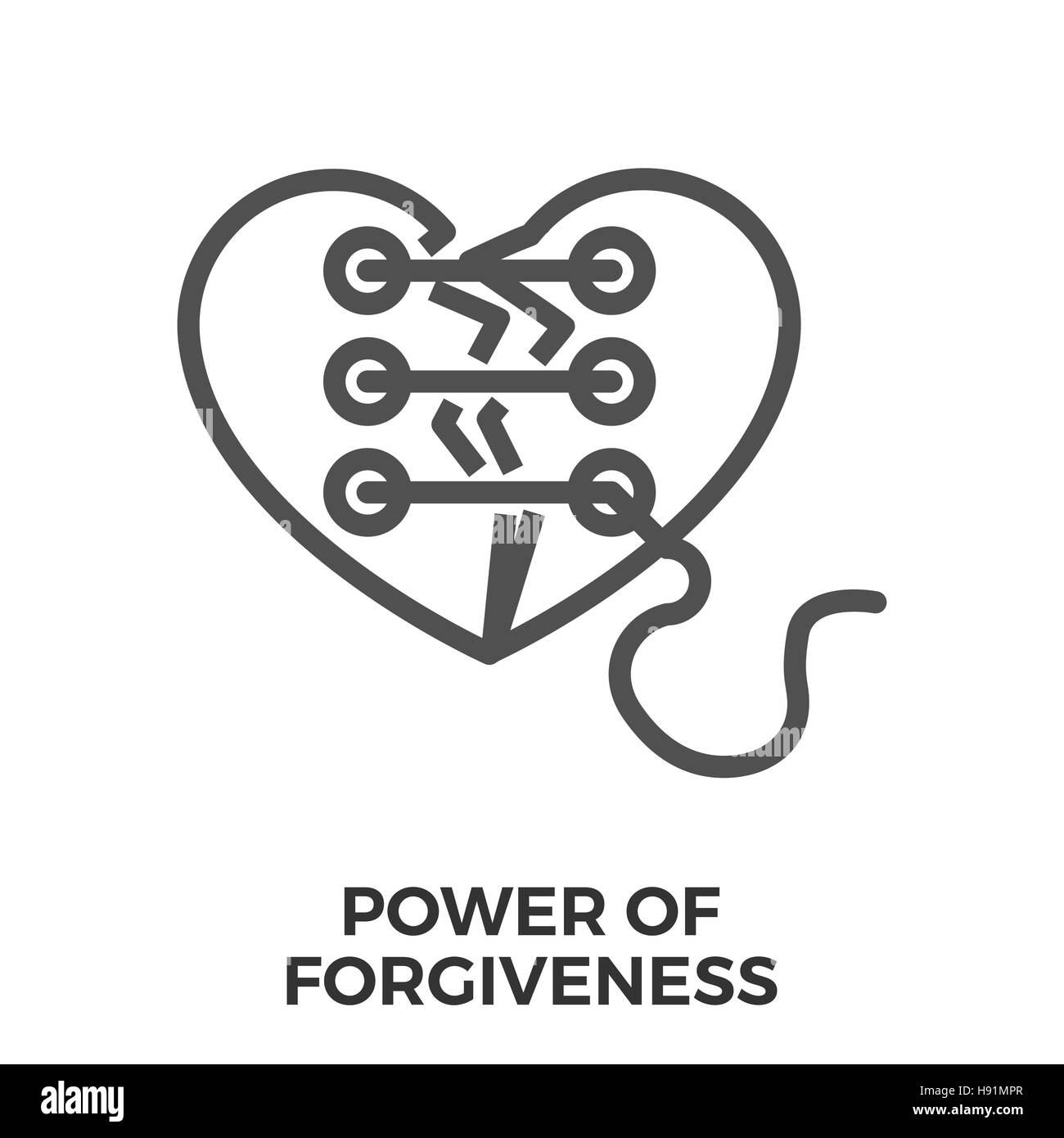 Power of Forgiveness Thin Line Vector Icon Isolated on the White Background. - Stock Image