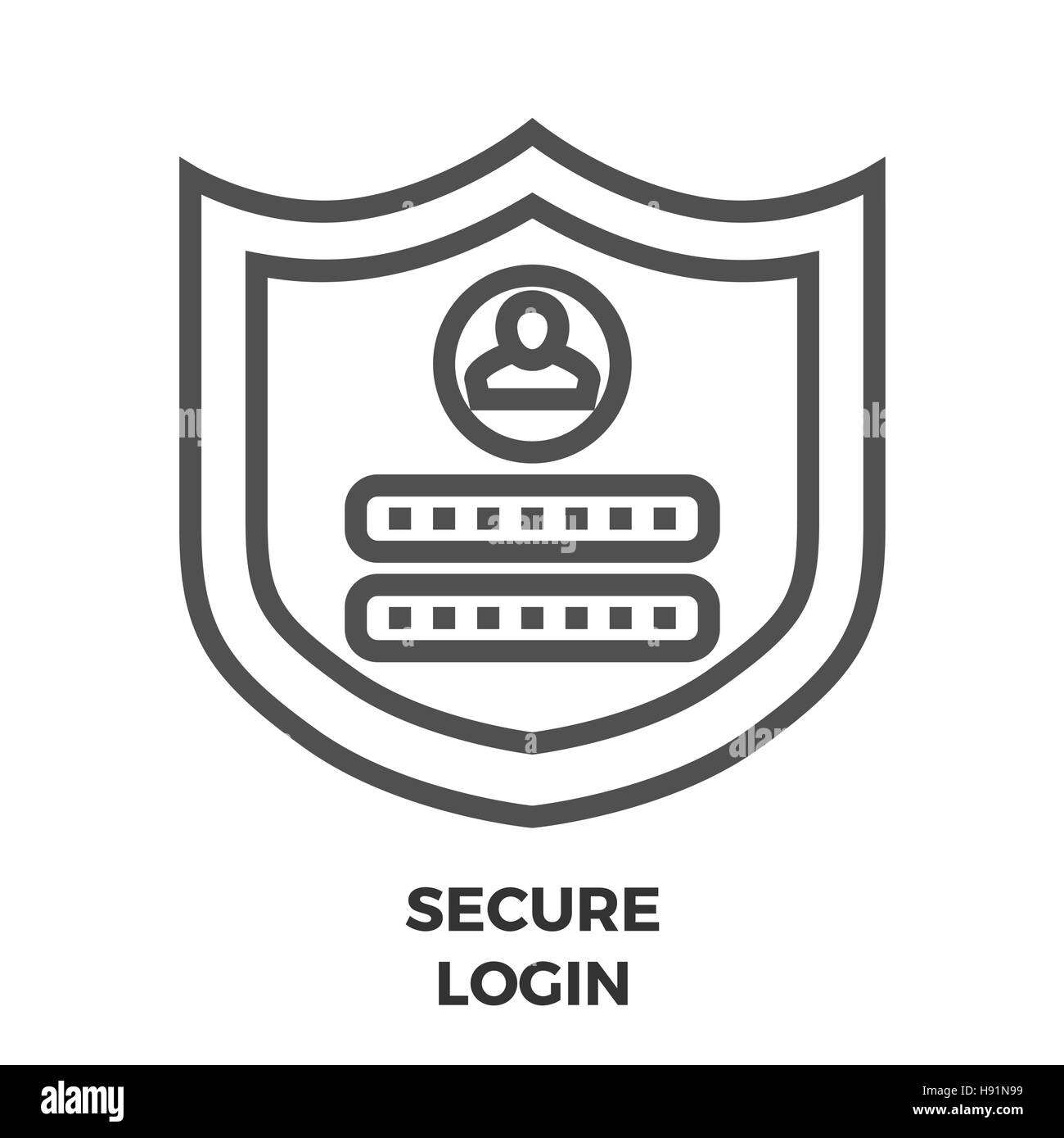 Secure Login Thin Line Vector Icon Isolated on the White Background. - Stock Vector