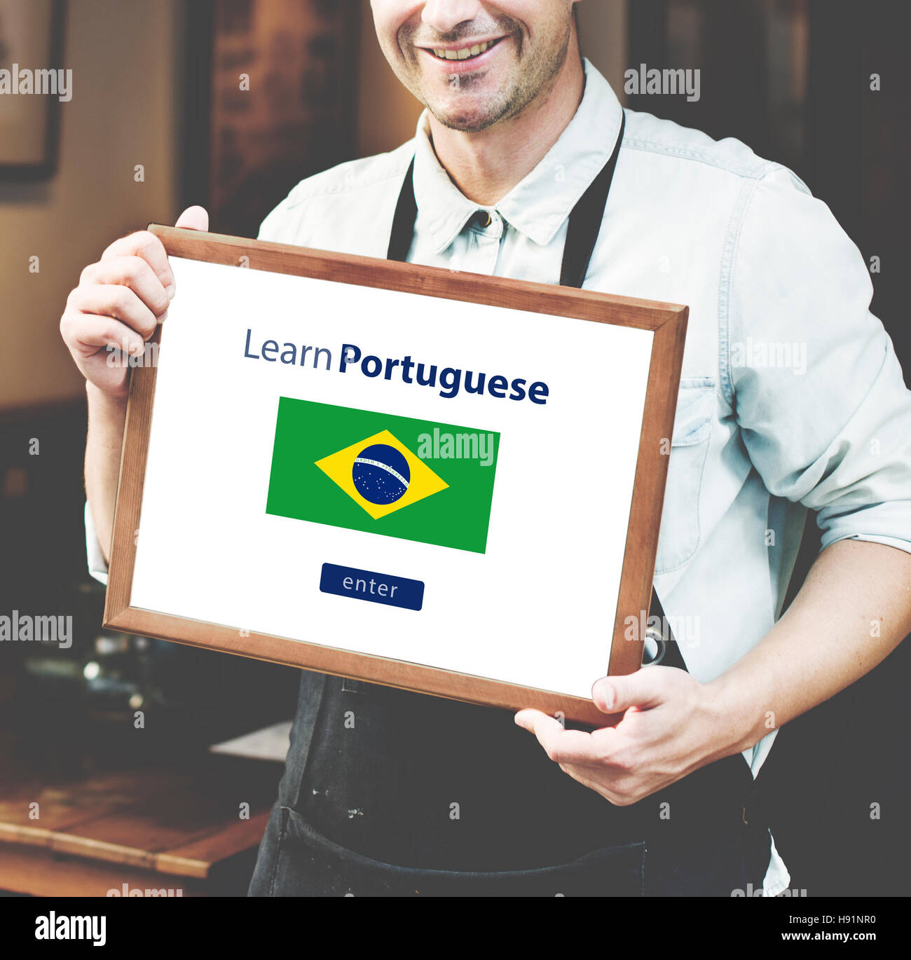 Learn Portuguese Language Online Education Concept Stock Photo