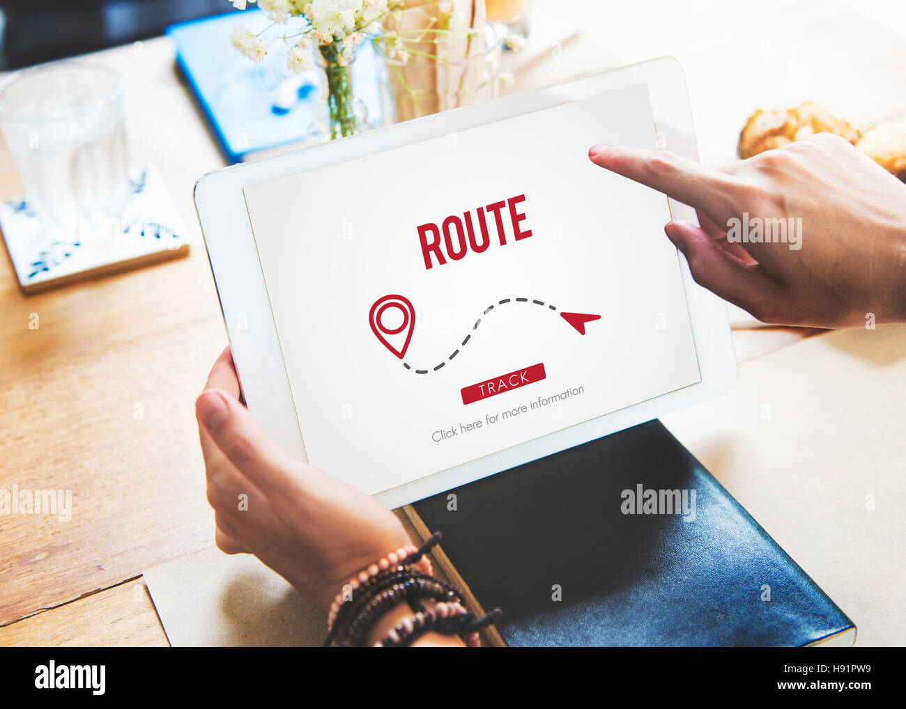 Route Navigate Location Planning Transportation Concept - Stock Image
