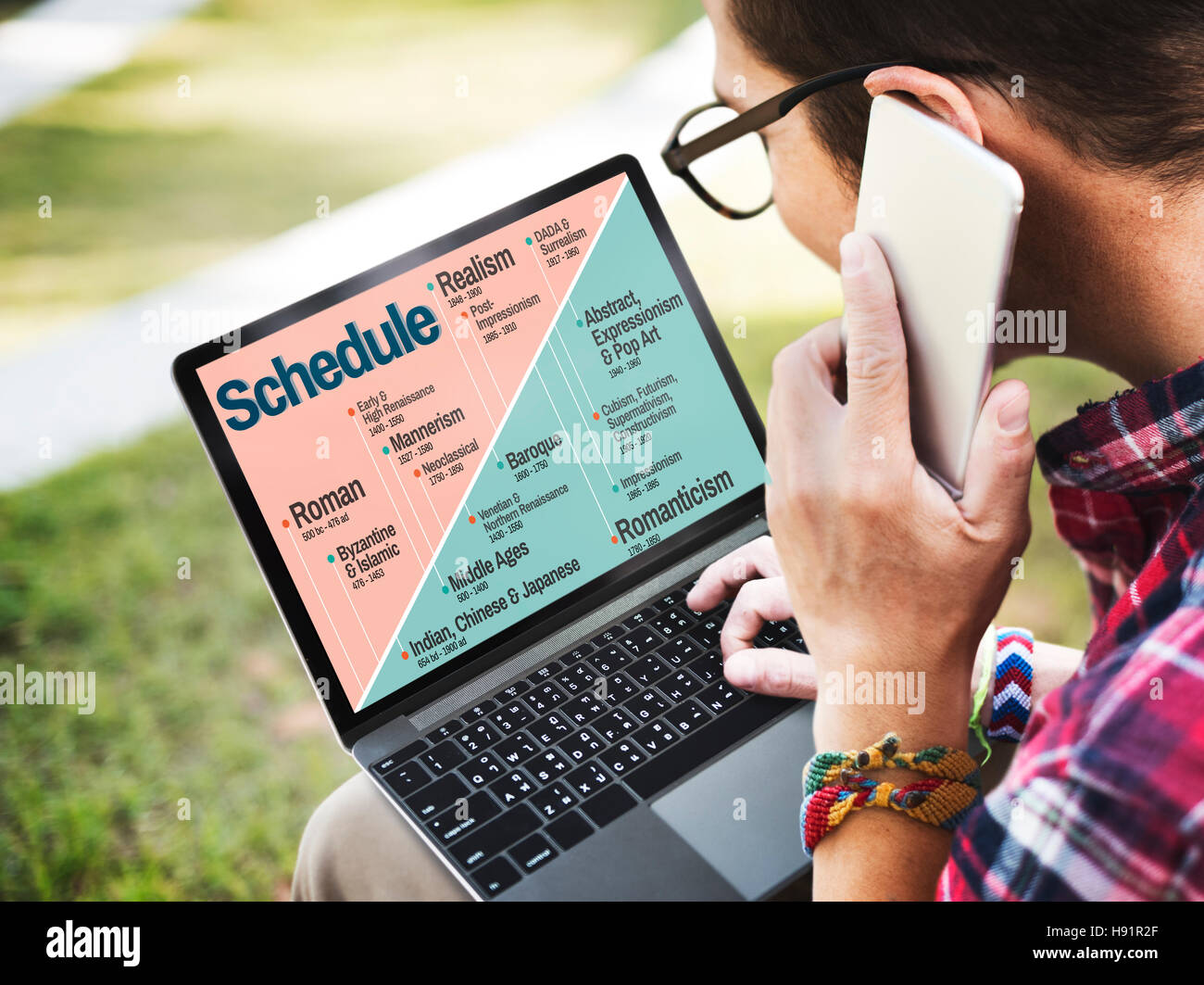 Schedule Art Style History Timeline Stock Photos & Schedule