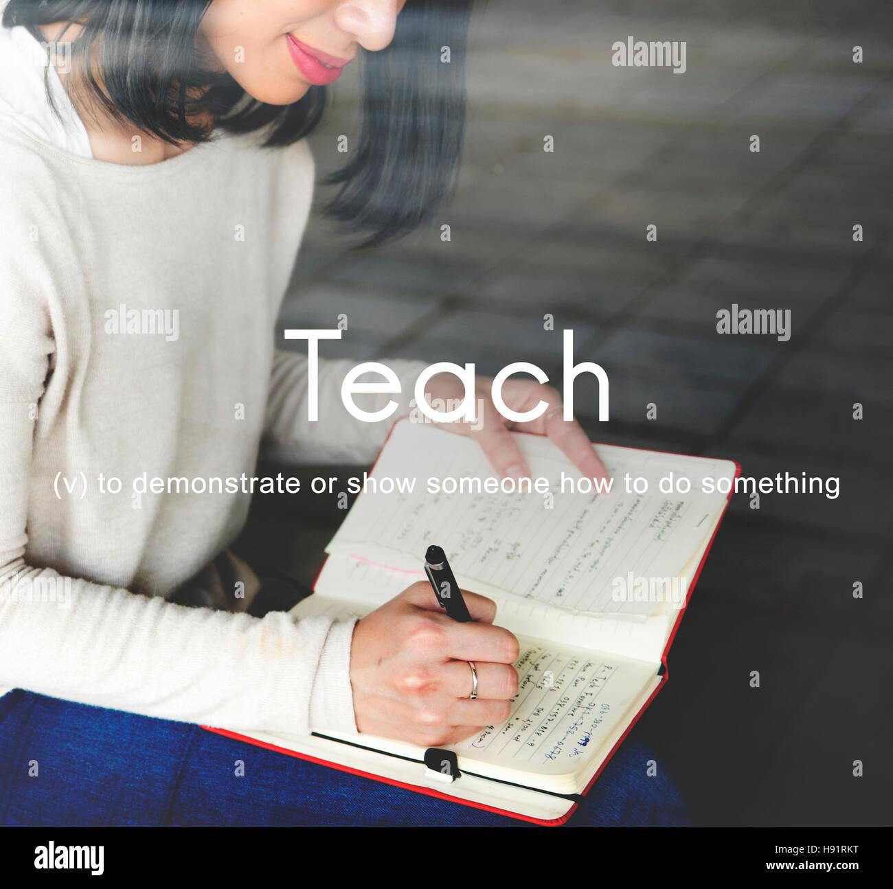 Teach Teaching Education Mentoring Coaching Training Concept - Stock Image