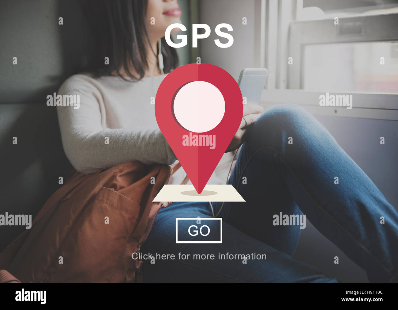 GPS Direction Electronic Guide Location Track Concept - Stock Image