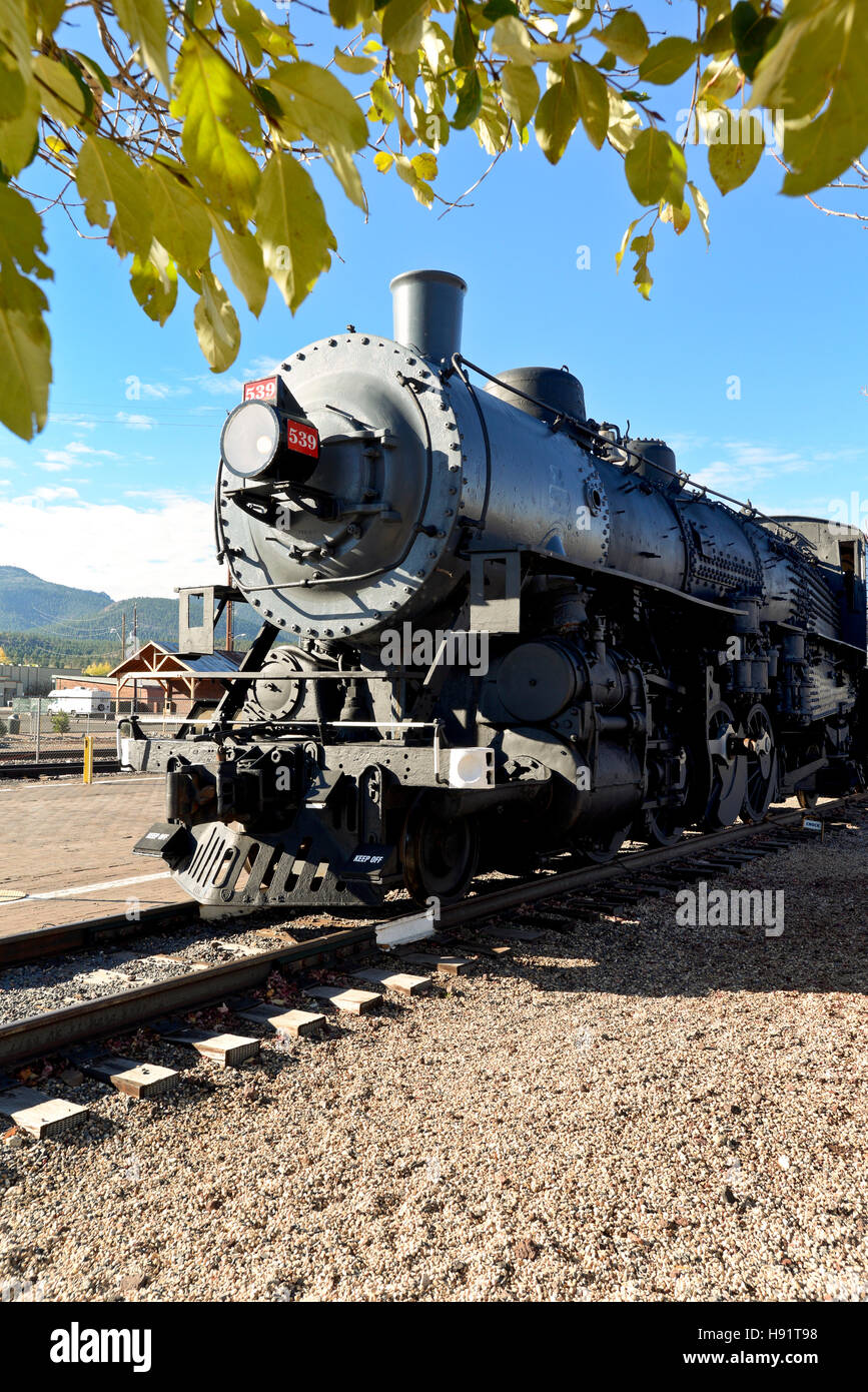 The train station and Railway to the Grand Canyon in Williams Arizona - Stock Image