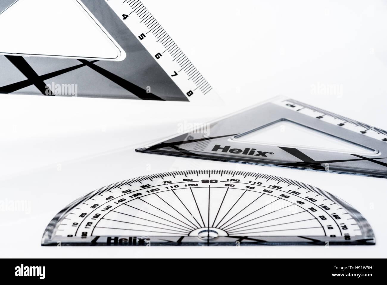 Technical drawing set. plastic geometry equipment. - Stock Image