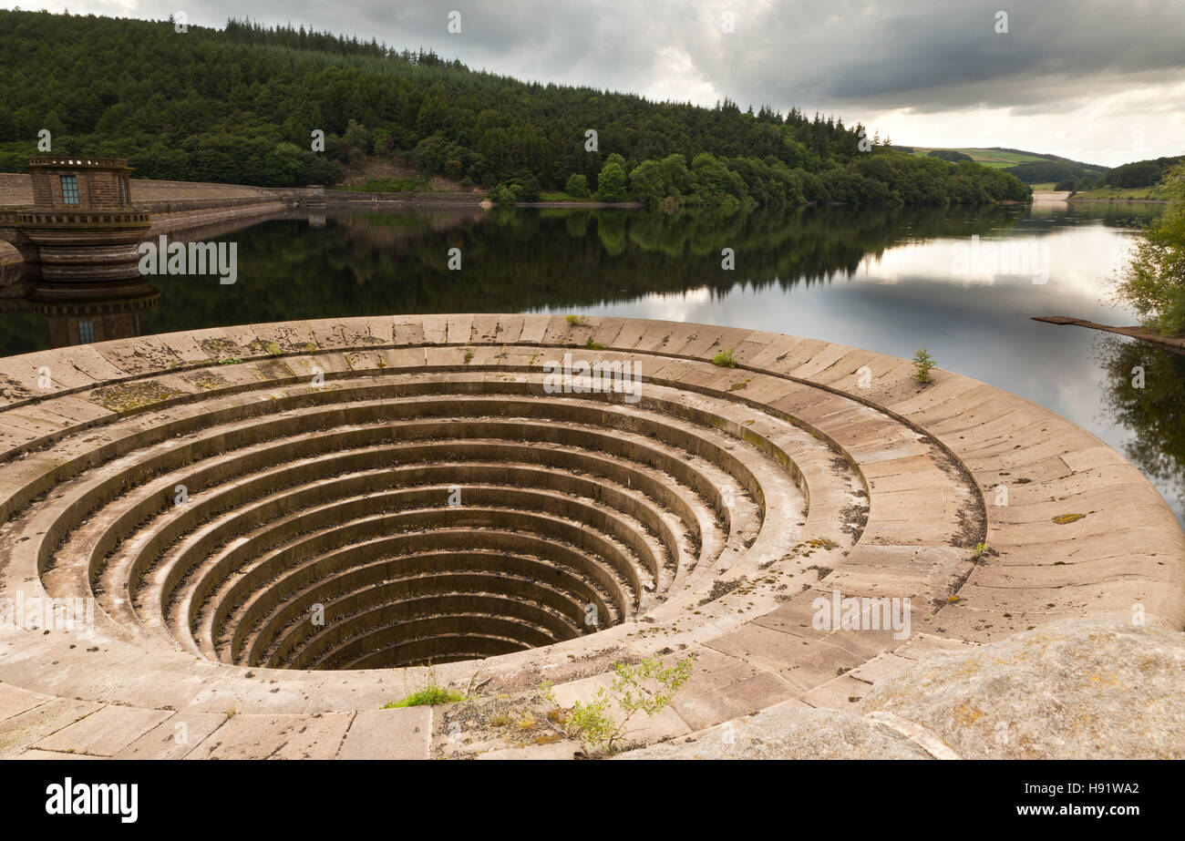 The Plug Hole Lady Bower Reservoir. - Stock Image