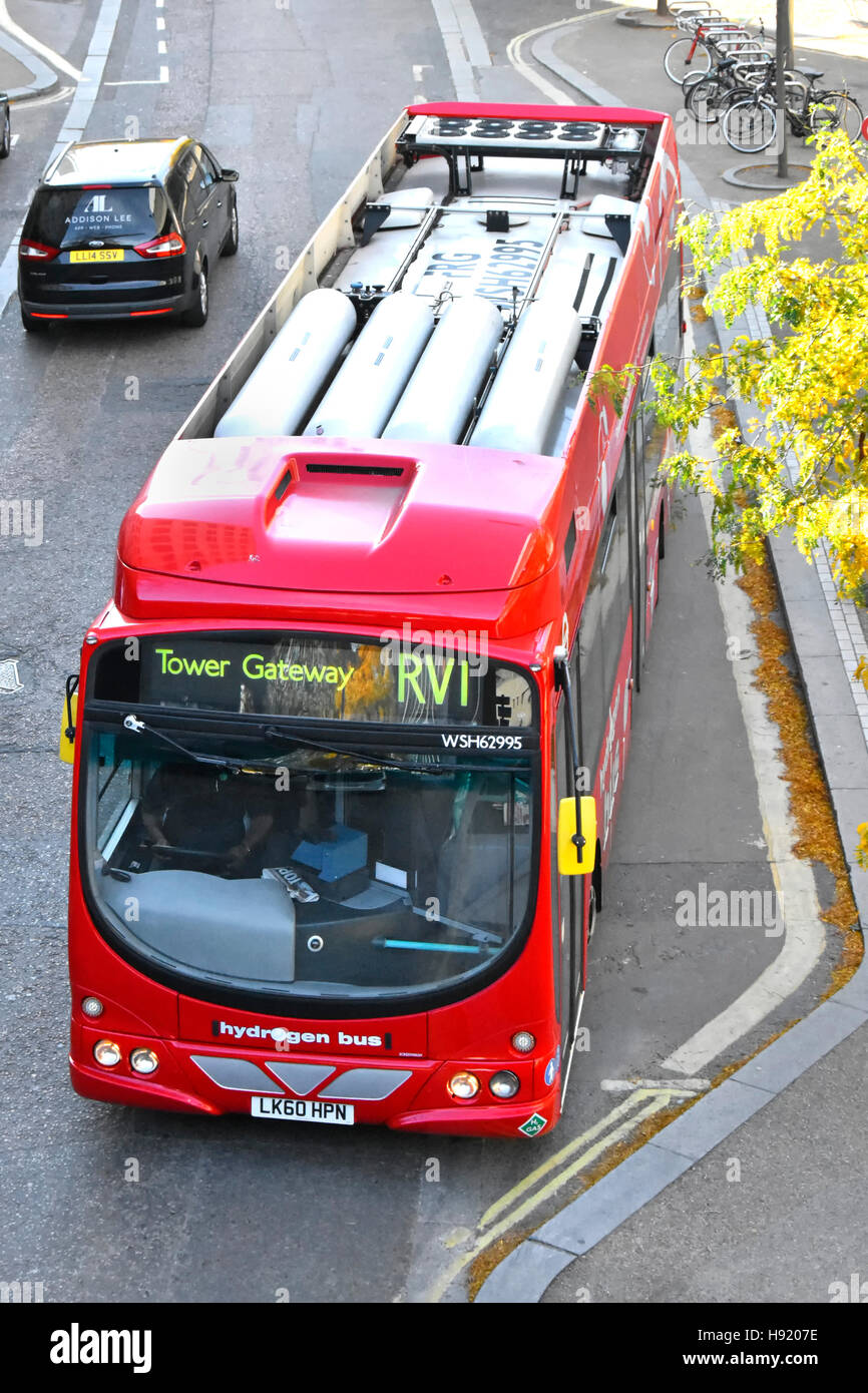Looking down on roof mounted fuel cells on a red zero emissions environmentally friendly hydrogen fuel single decker - Stock Image