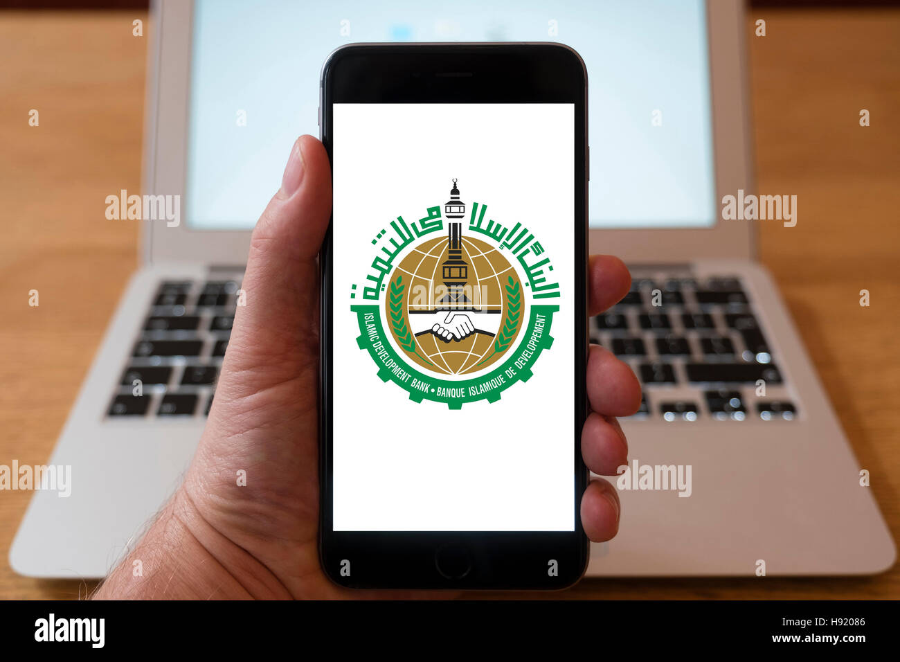 Using iPhone smart phone to display website logo of the