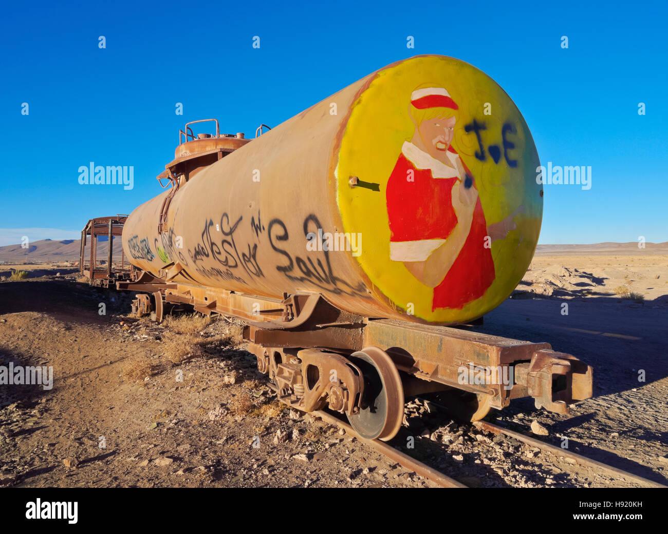 Bolivia, Potosi Department, Antonio Quijarro Province, Uyuni, View of the train cemetery. - Stock Image