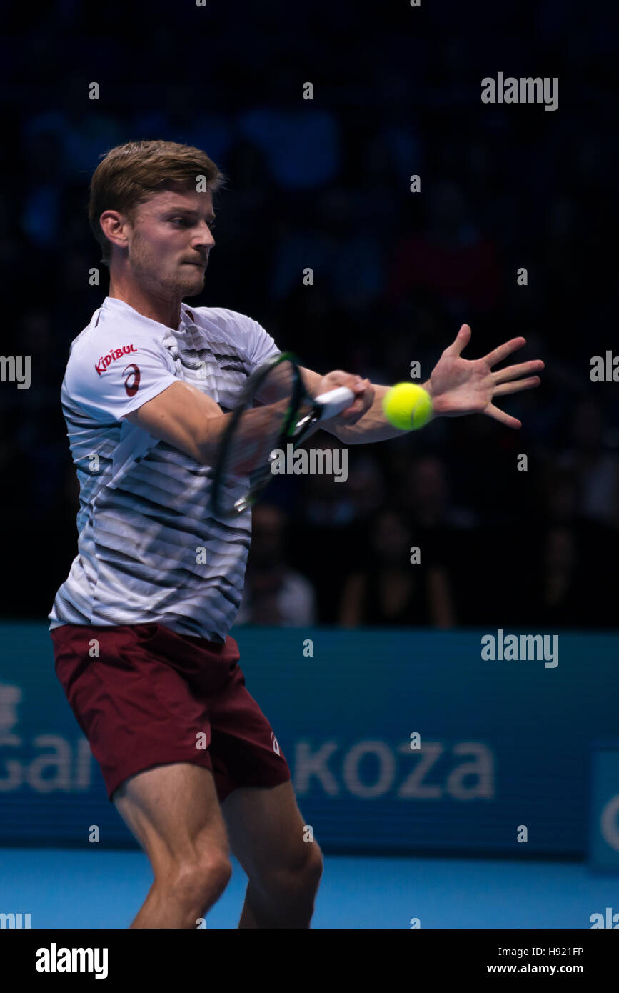 London, UK. 17th Nov, 2016. David Goffin (BEL) play the third match of Group Ivan Lendl at ATP Finals in UK. Credit: Stock Photo