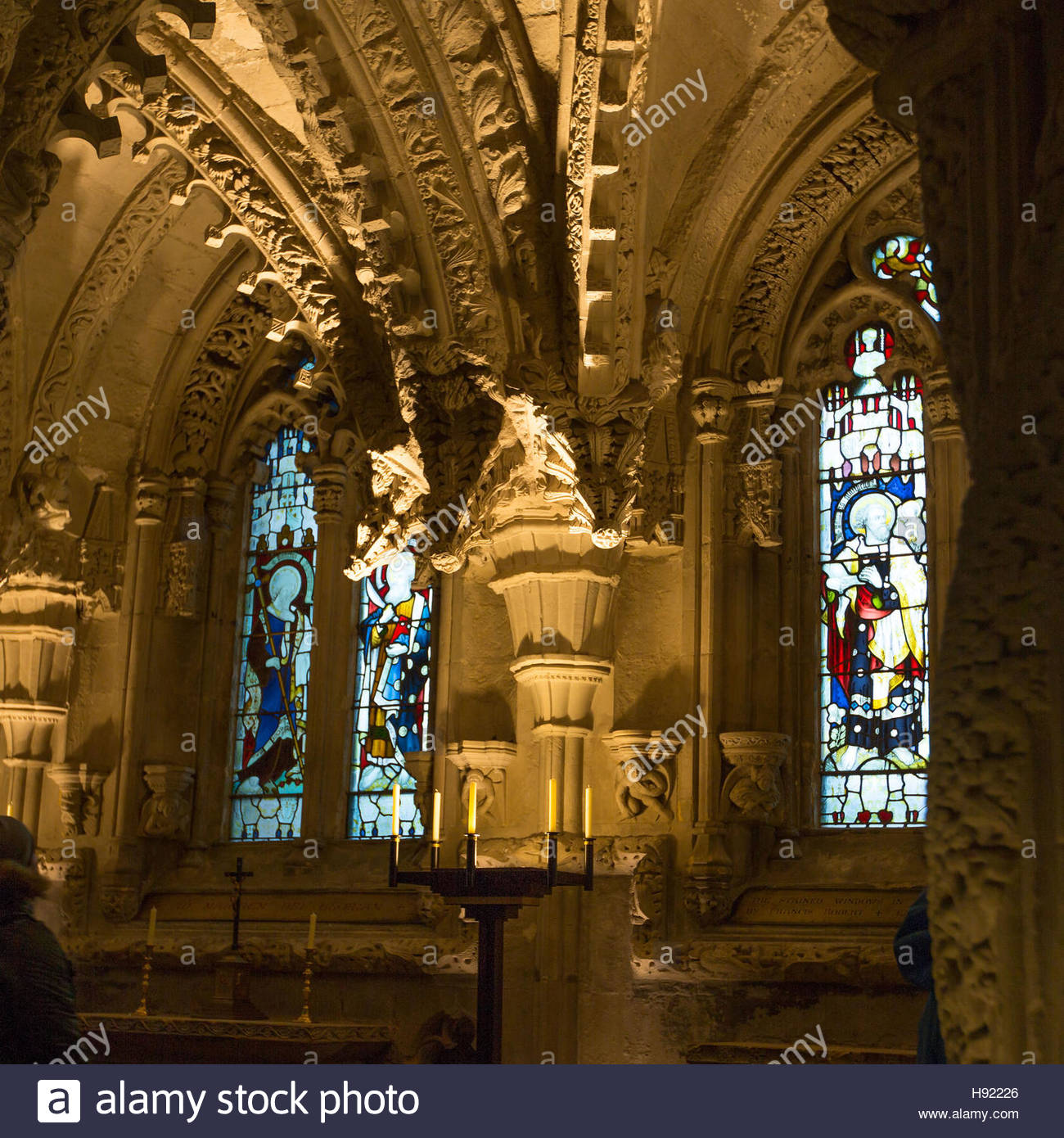 Roslin, Edinburgh, Scotland, 16th, November, 2016.  Internal photo of the Lady Chapel at Rosslyn Chapel - Stock Image