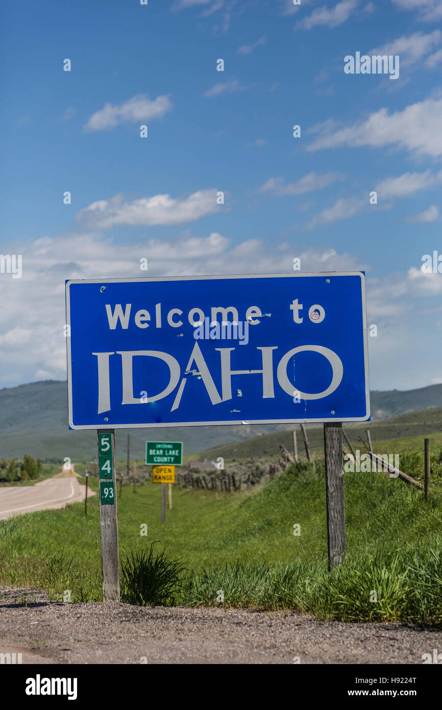 Welcome to Idaho Sign Stock Photo