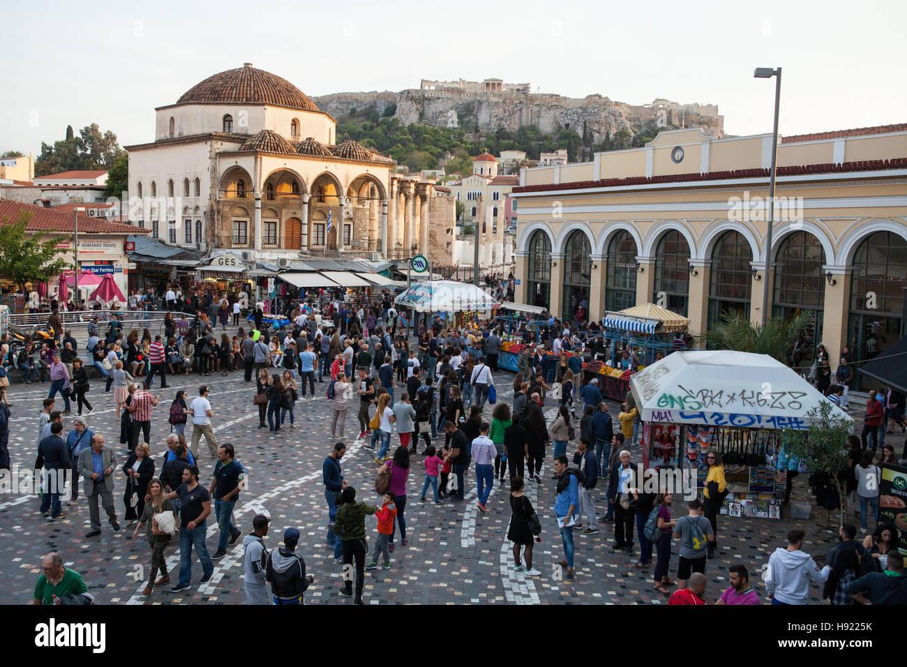 Monastiraki Square in Athens with Tsisdarakis Mosque & Metro Station Stock Photo