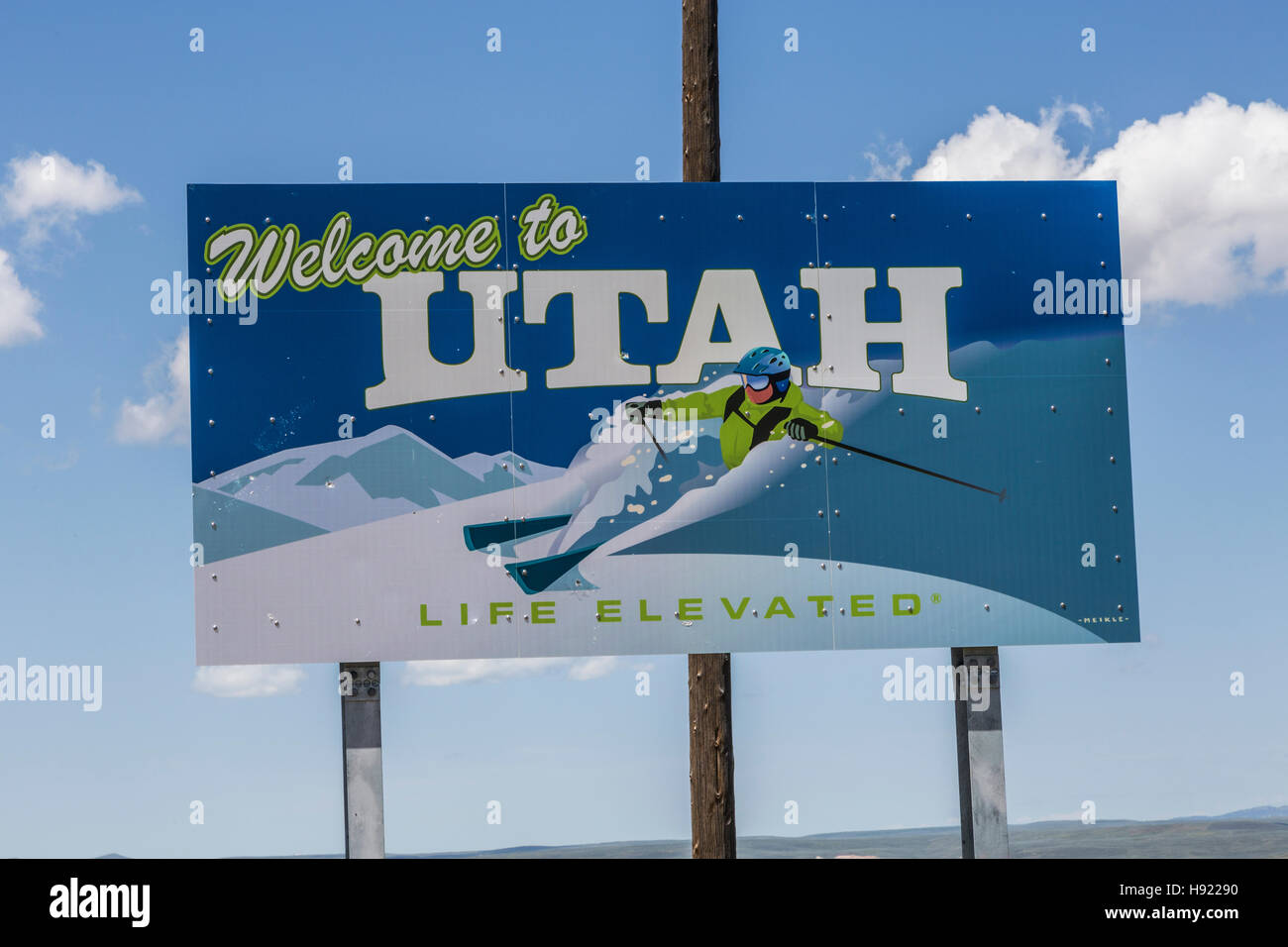 Welcome to Utah Sign Stock Photo