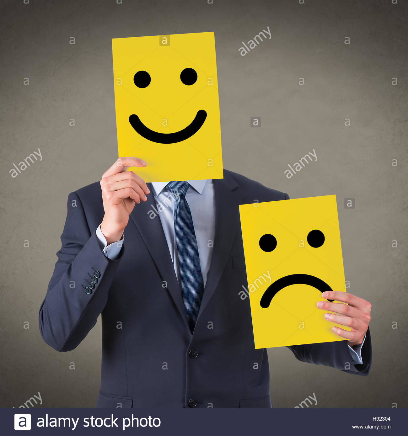 Smile Face on Yellow Cardboard - Stock Image